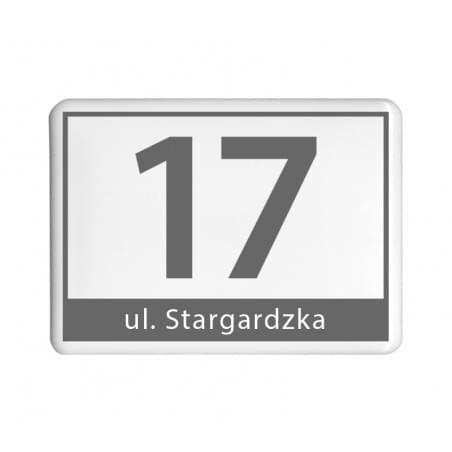 Czarno-biała prostokątna fotografia na nagrobek z platynowym paskiem